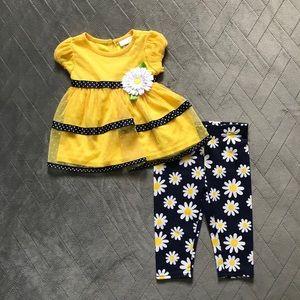 NWT Baby girl daisy 2-piece outfit Sz 6/9 mths